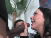 Cuckold loving domina fucked by a black cock in front of a Sissy